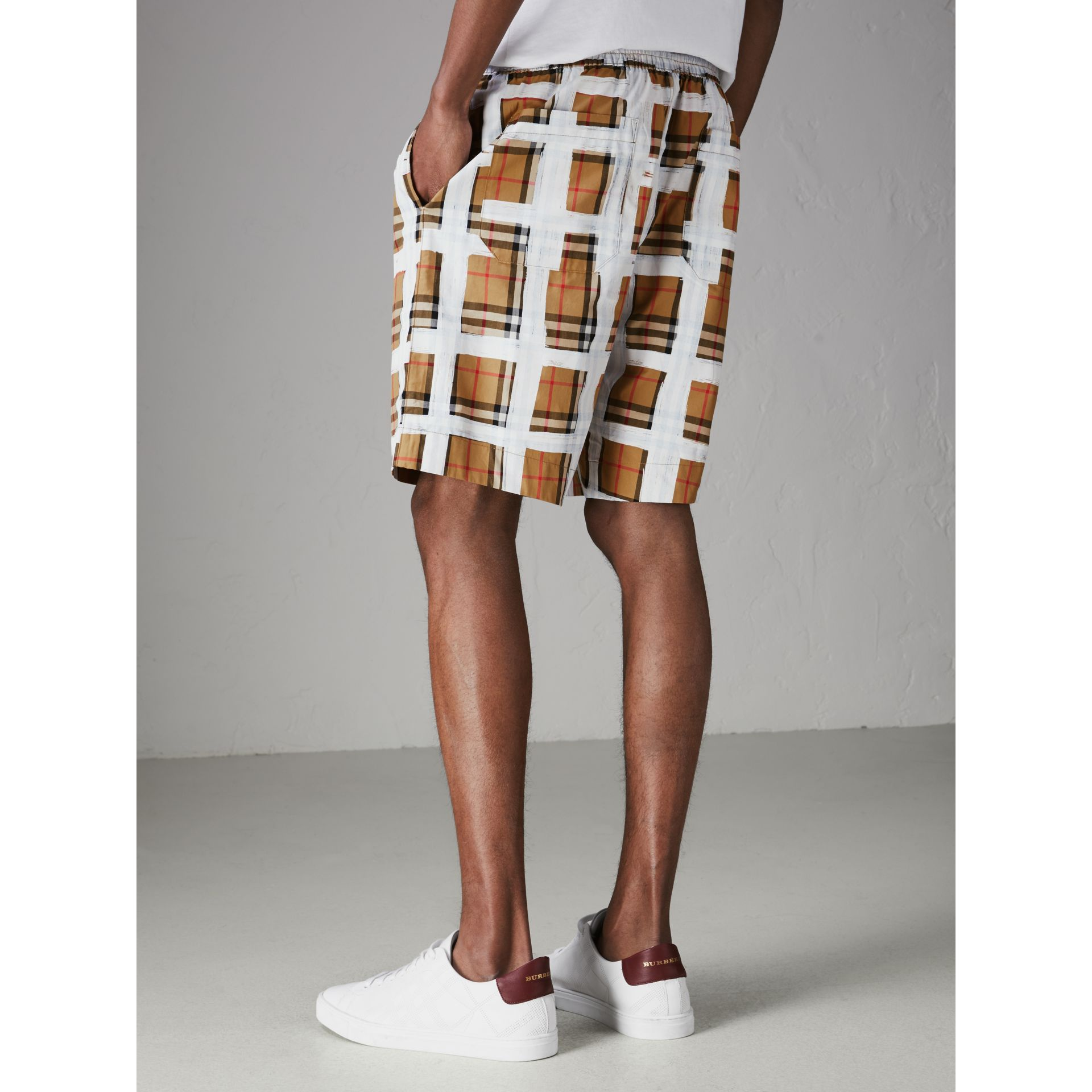 Painted Vintage Check Cotton Drawcord Shorts in Antique Yellow - Men | Burberry - gallery image 2