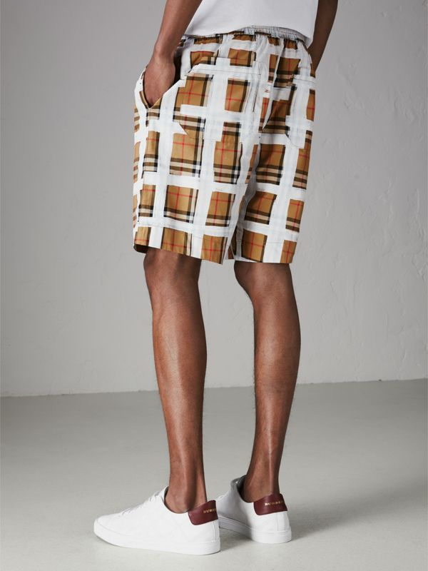 Painted Vintage Check Cotton Drawcord Shorts in Antique Yellow - Men | Burberry Singapore - cell image 2