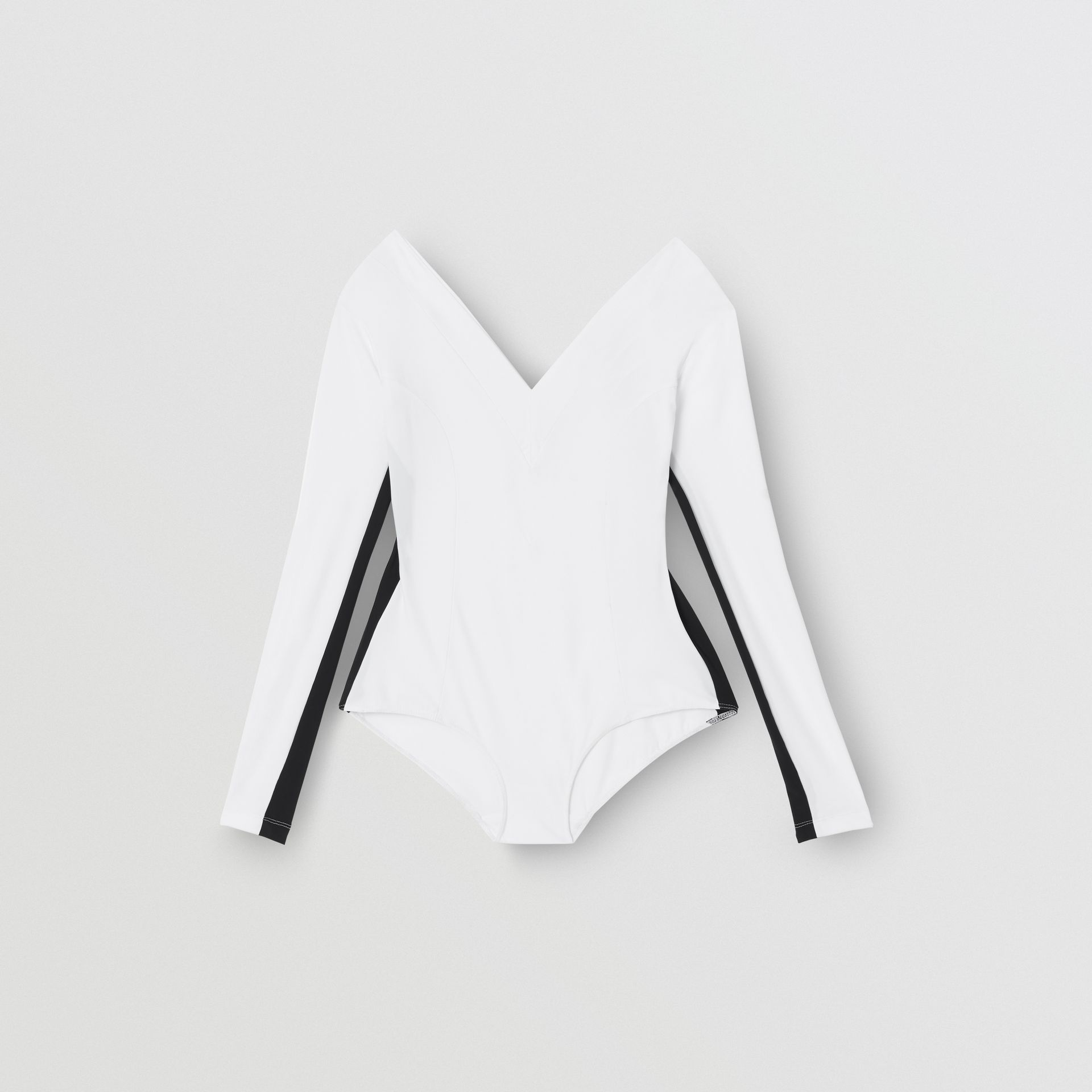 Two-tone Stretch Jersey Bodysuit in Optic White - Women | Burberry - gallery image 3