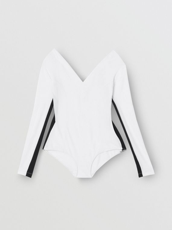 Two-tone Stretch Jersey Bodysuit in Optic White