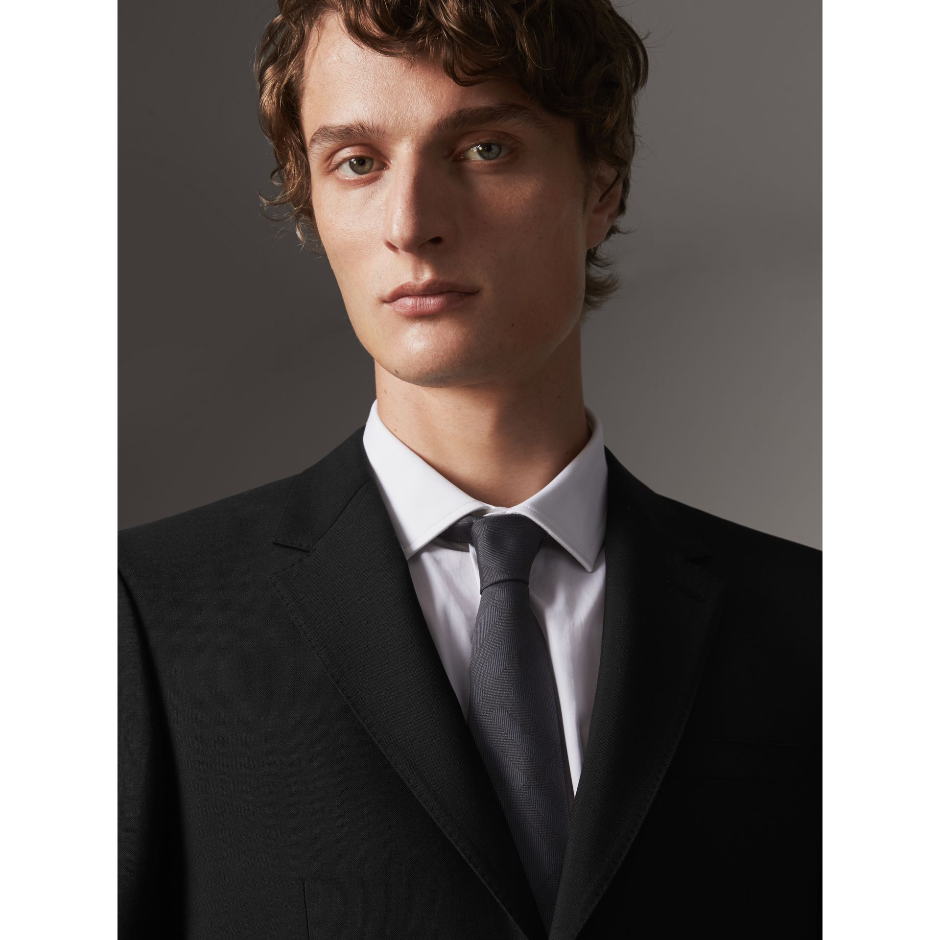 Modern Fit Wool Mohair Part-canvas Jacket in Black - Men | Burberry United States - gallery image 2