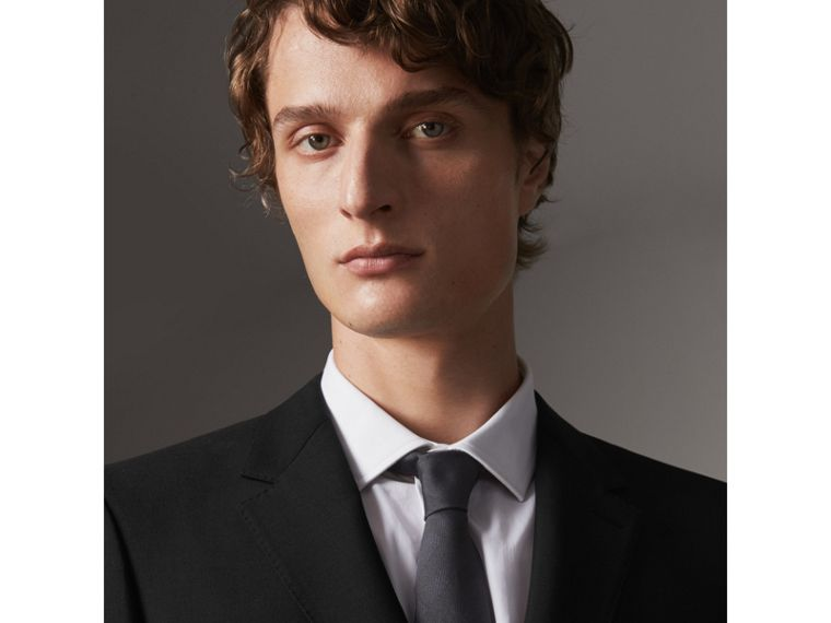 Modern Fit Wool Mohair Part-canvas Jacket in Black - Men | Burberry Hong Kong - cell image 1