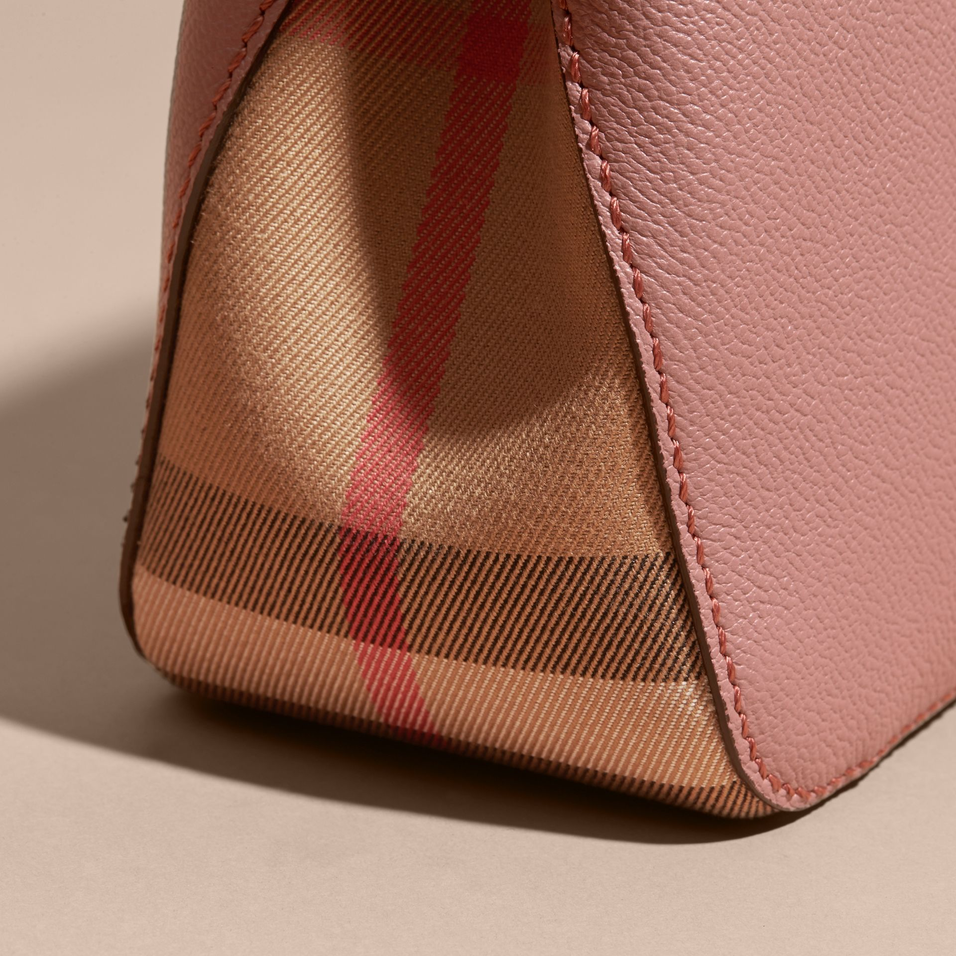 Buckle Detail Leather and House Check Crossbody Bag in Dusty Pink - gallery image 6