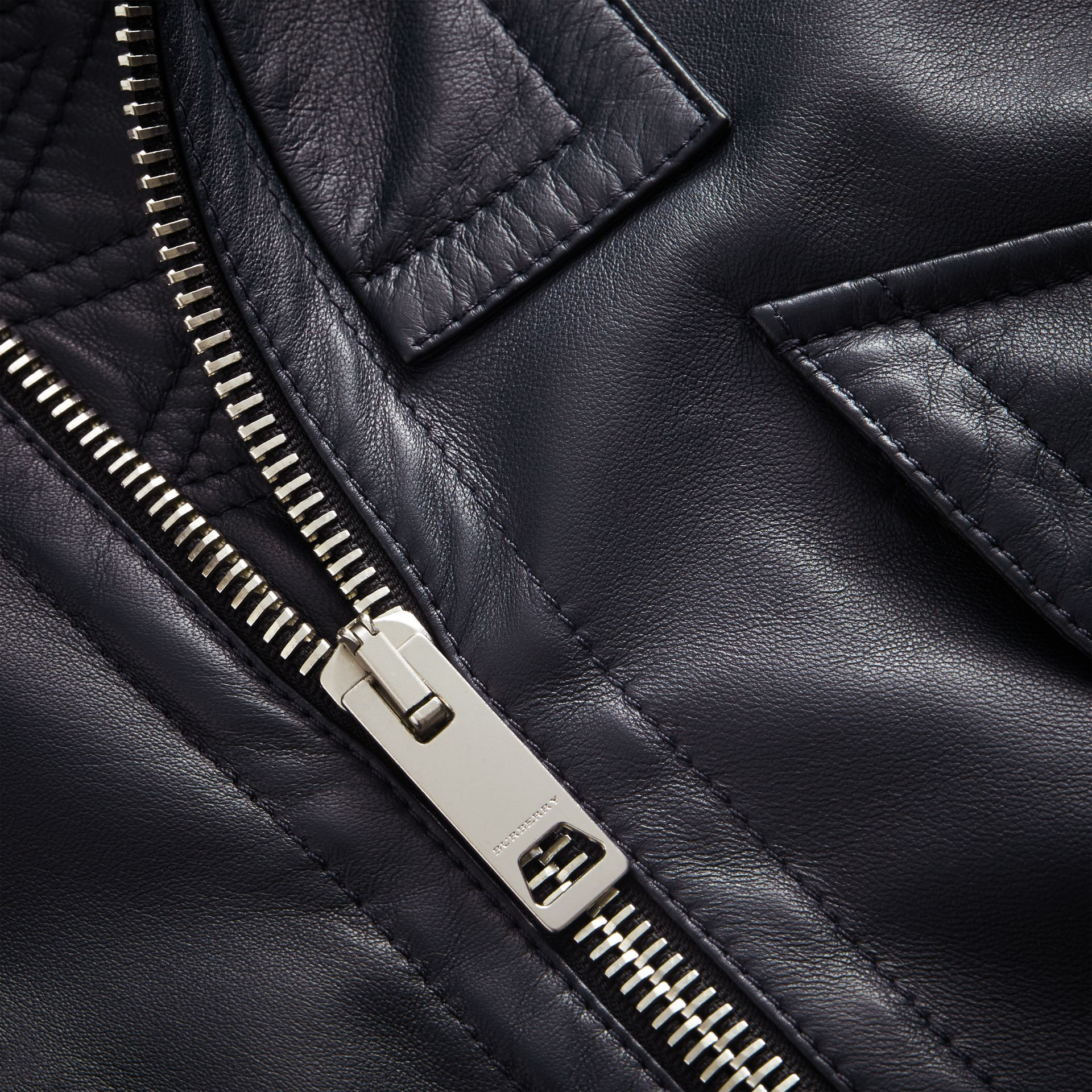 Lambskin Bomber Jacket in Navy - Men | Burberry - gallery image 2