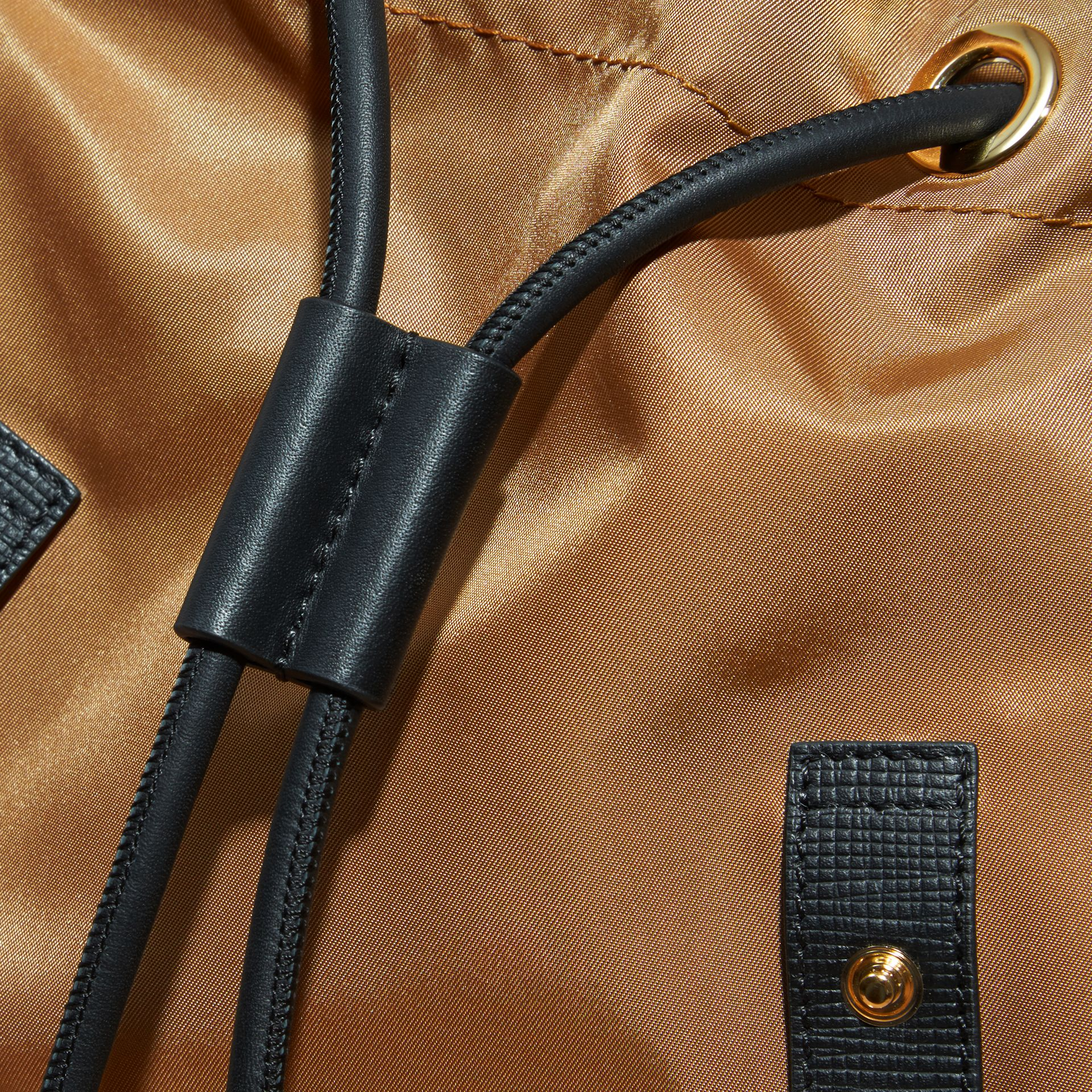 The Medium Rucksack in Technical Nylon and Leather in Light Flax - gallery image 7