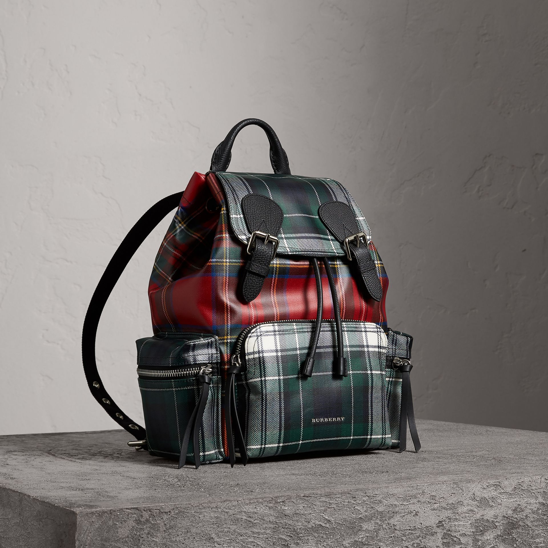 The Medium Rucksack in Laminated Tartan in Military Red - Women | Burberry - gallery image 0