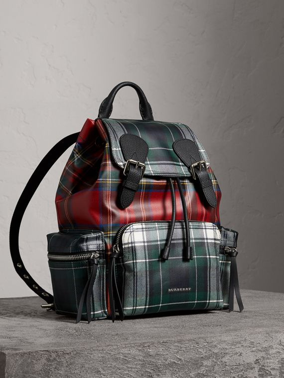 The Medium Rucksack in Laminated Tartan in Military Red