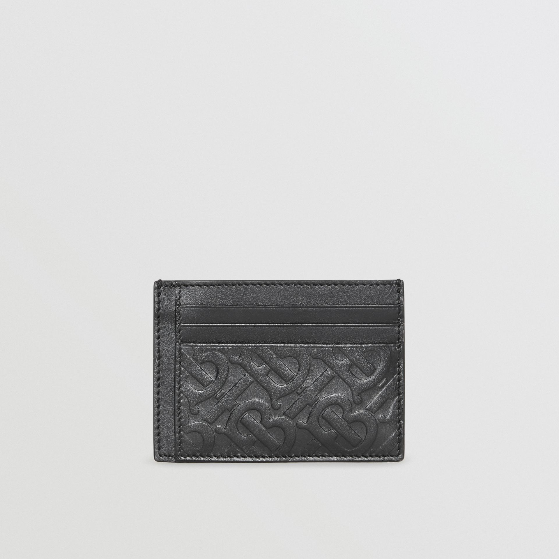 Monogram Leather Card Case in Black - Men | Burberry Australia - gallery image 4