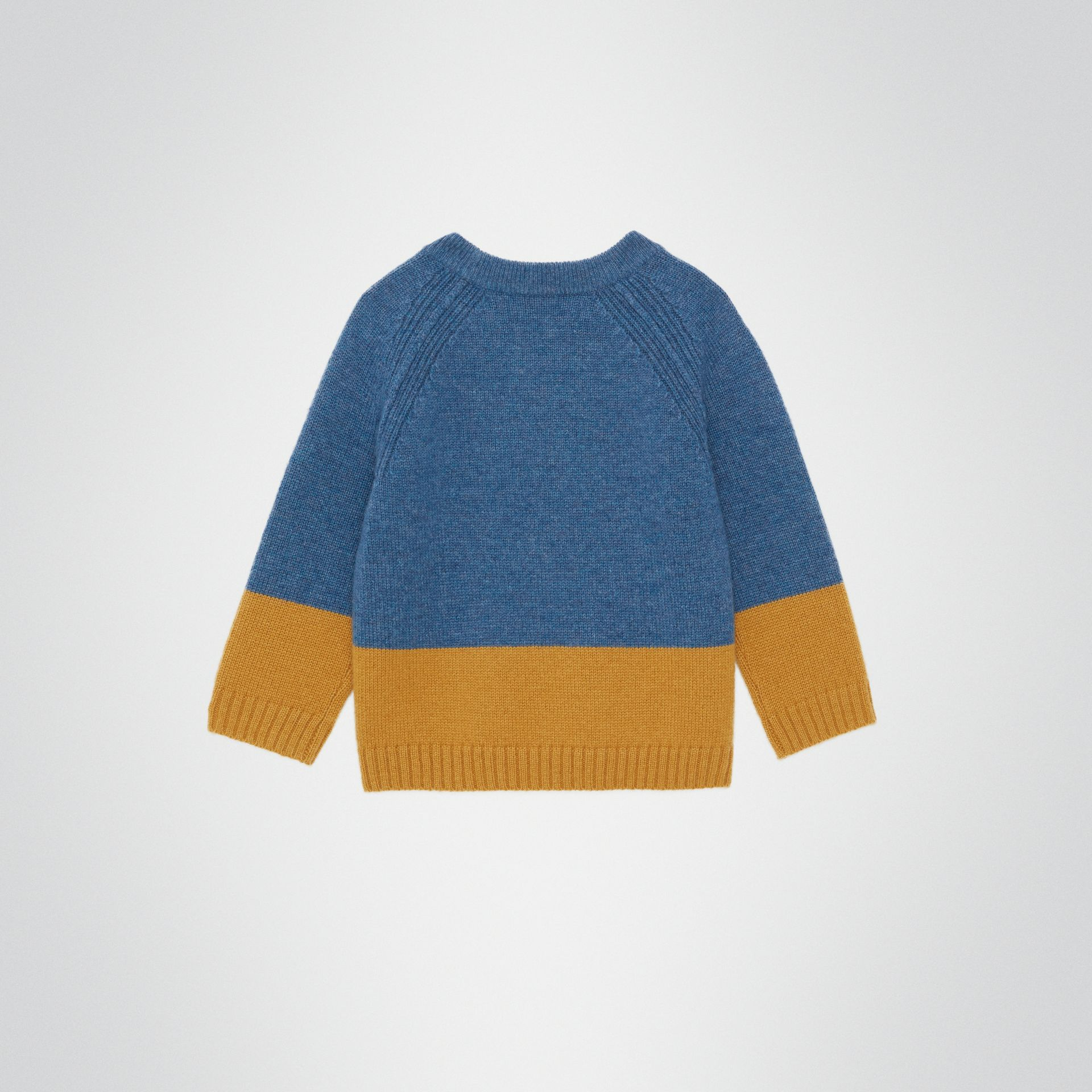 Logo Intarsia Cashmere Sweater in Dusty Blue Melange - Children | Burberry - gallery image 3