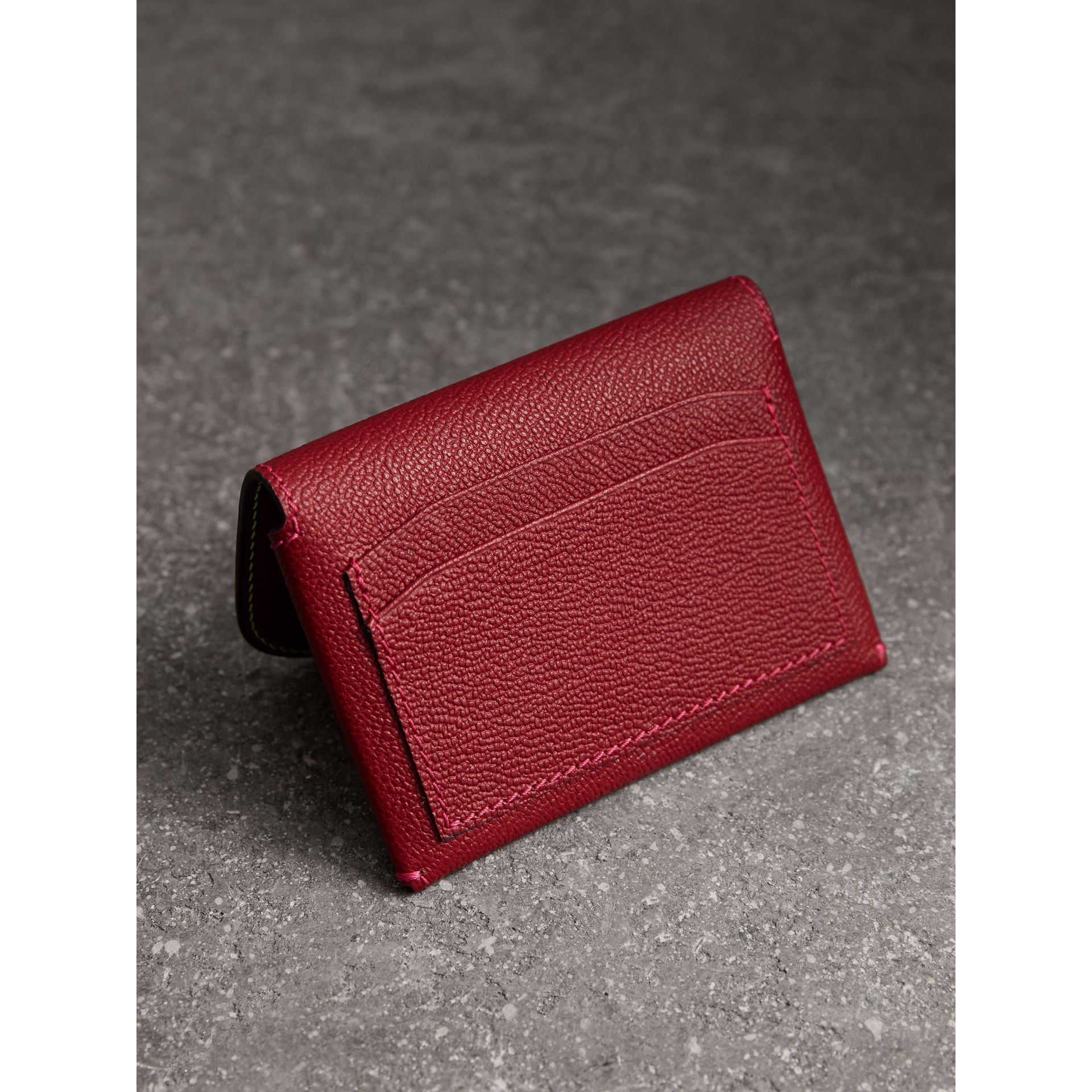 Leather Coin Case with Removable Card Compartment in Parade Red/multicolour - Women | Burberry - gallery image 3