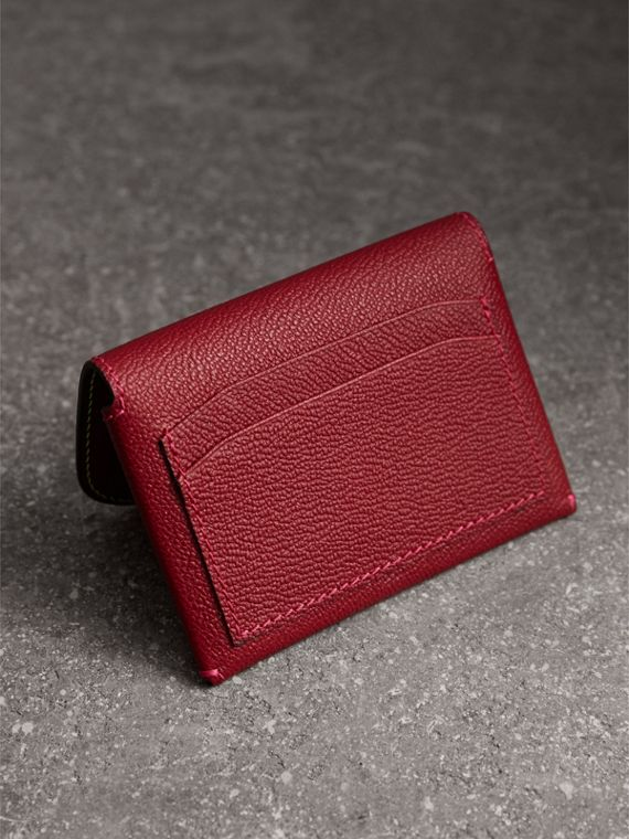 Leather Coin Case with Removable Card Compartment in Parade Red/multicolour - Women | Burberry - cell image 2