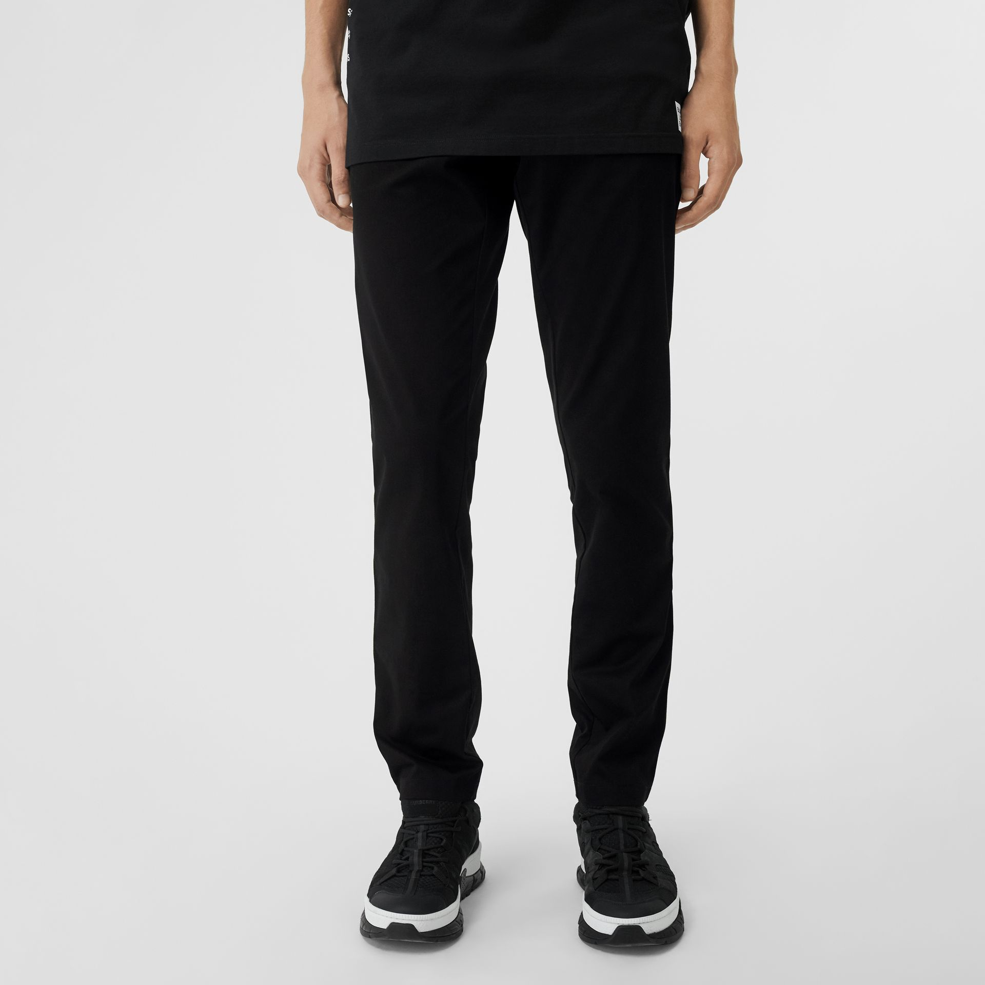 Slim Fit Icon Stripe Detail Cotton Chinos in Black - Men | Burberry - gallery image 5