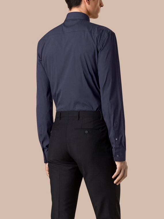 Modern Fit Stretch Cotton Shirt in Navy - Men | Burberry Singapore - cell image 2