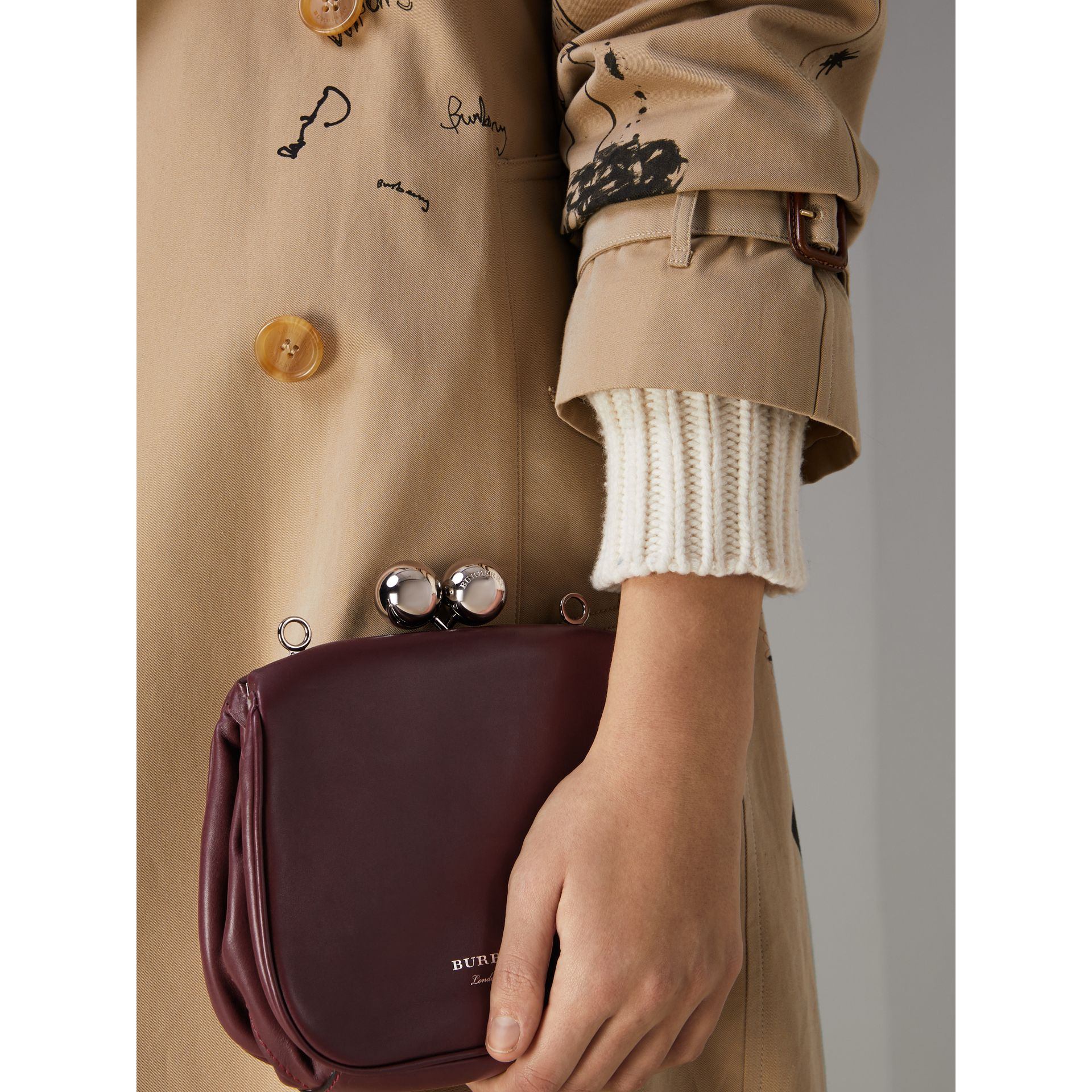 Small Leather Frame Bag in Burgundy - Women | Burberry - gallery image 3