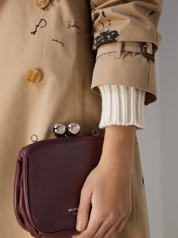 Small Leather Frame Bag in Burgundy - Women | Burberry Canada - cell image 3