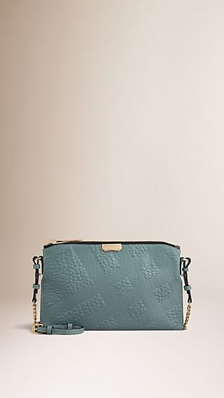 Check-embossed Leather Clutch Bag Celadon Blue