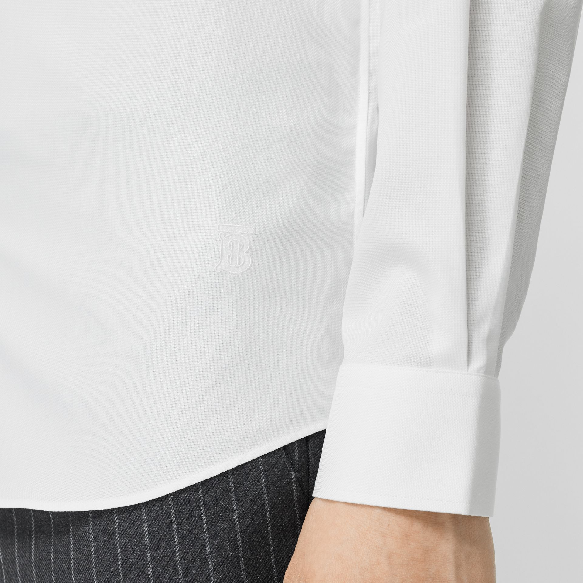 Classic Fit Monogram Motif Cotton Oxford Shirt in White - Men | Burberry United States - gallery image 4