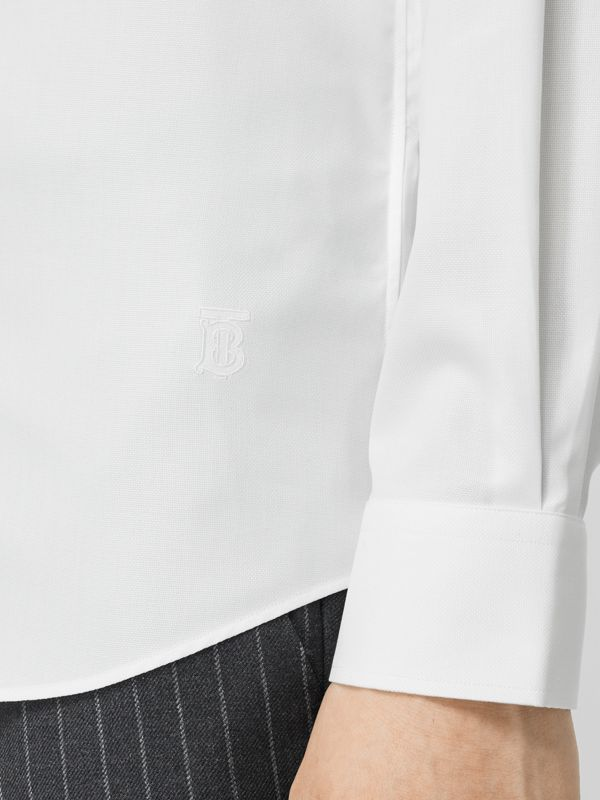 Classic Fit Monogram Motif Cotton Oxford Shirt in White - Men | Burberry United Kingdom - cell image 3