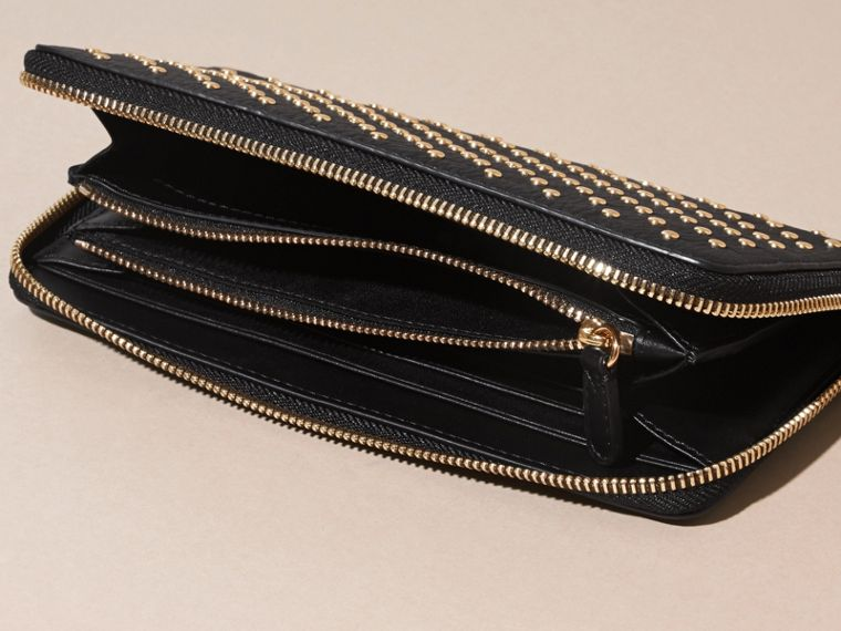 Black Studded Leather Ziparound Wallet - cell image 4
