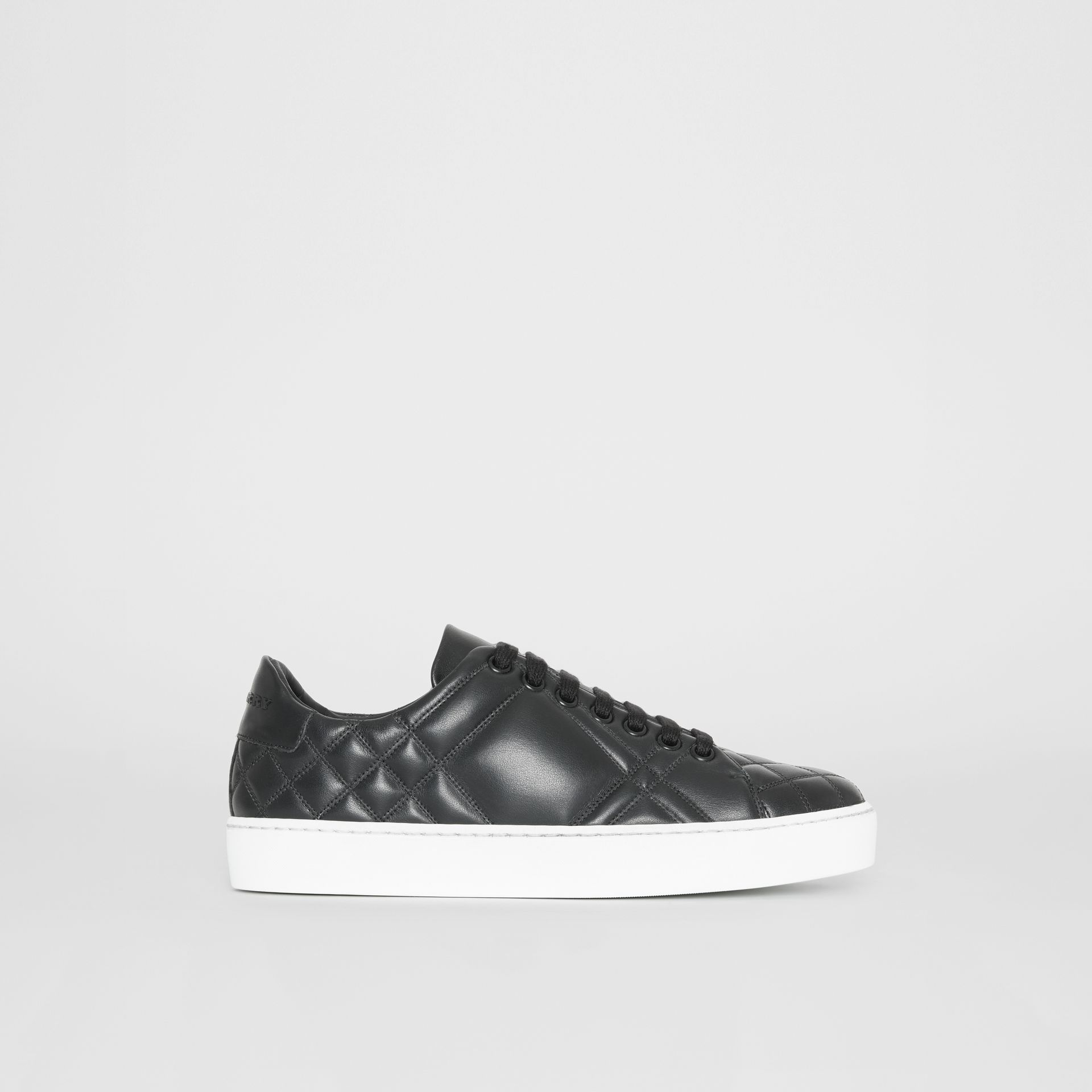 Check-quilted Leather Sneakers in Black - Women | Burberry - gallery image 5