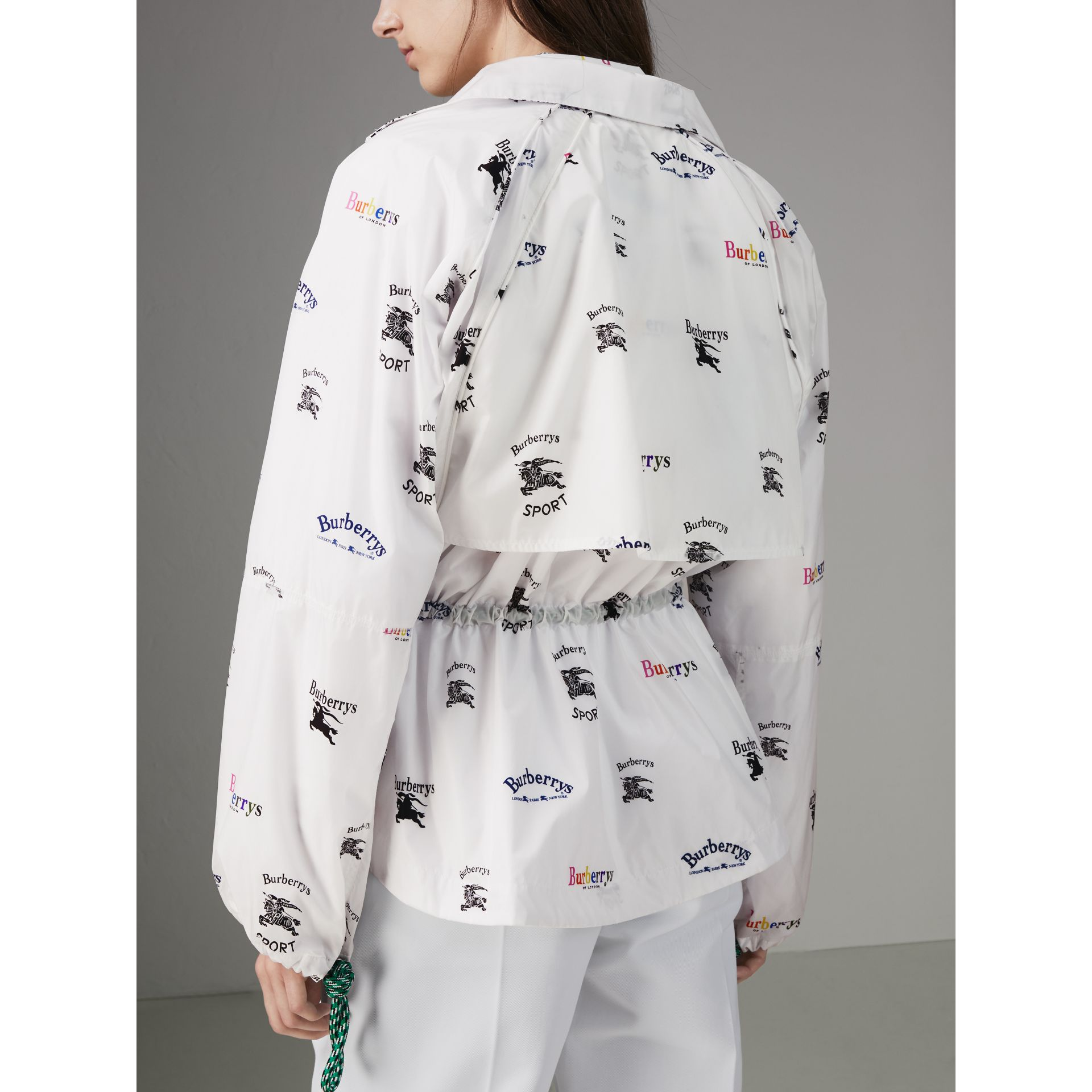 Triple Archive Logo Print Shell Jacket in Multicolour - Women | Burberry United States - gallery image 2