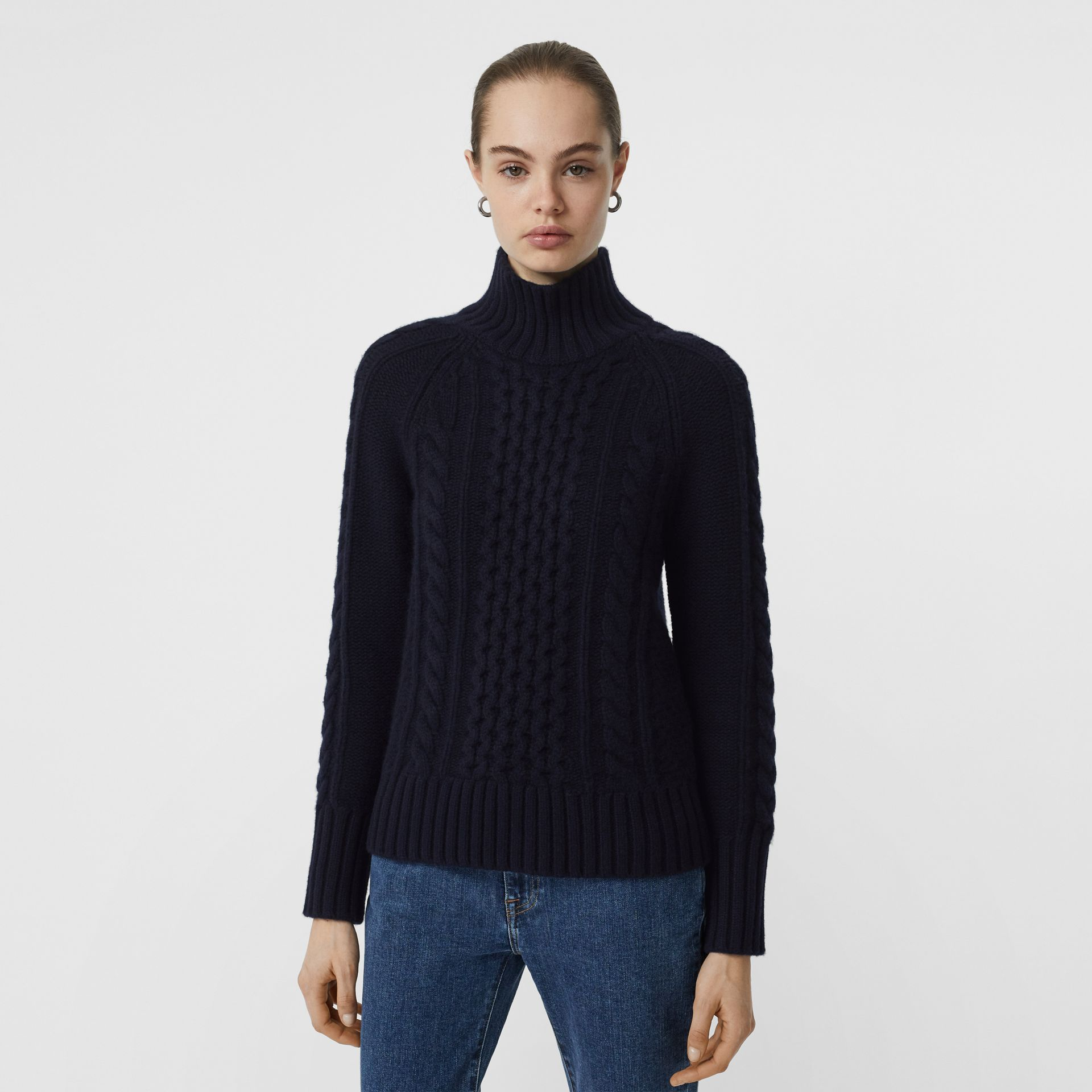 Cable Knit Cashmere Turtleneck Sweater in Navy - Women | Burberry - gallery image 4