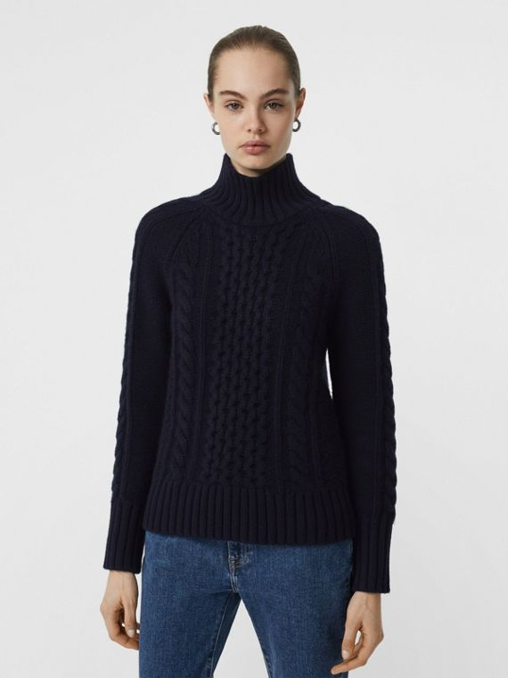 Cable Knit Cashmere Turtleneck Sweater in Navy