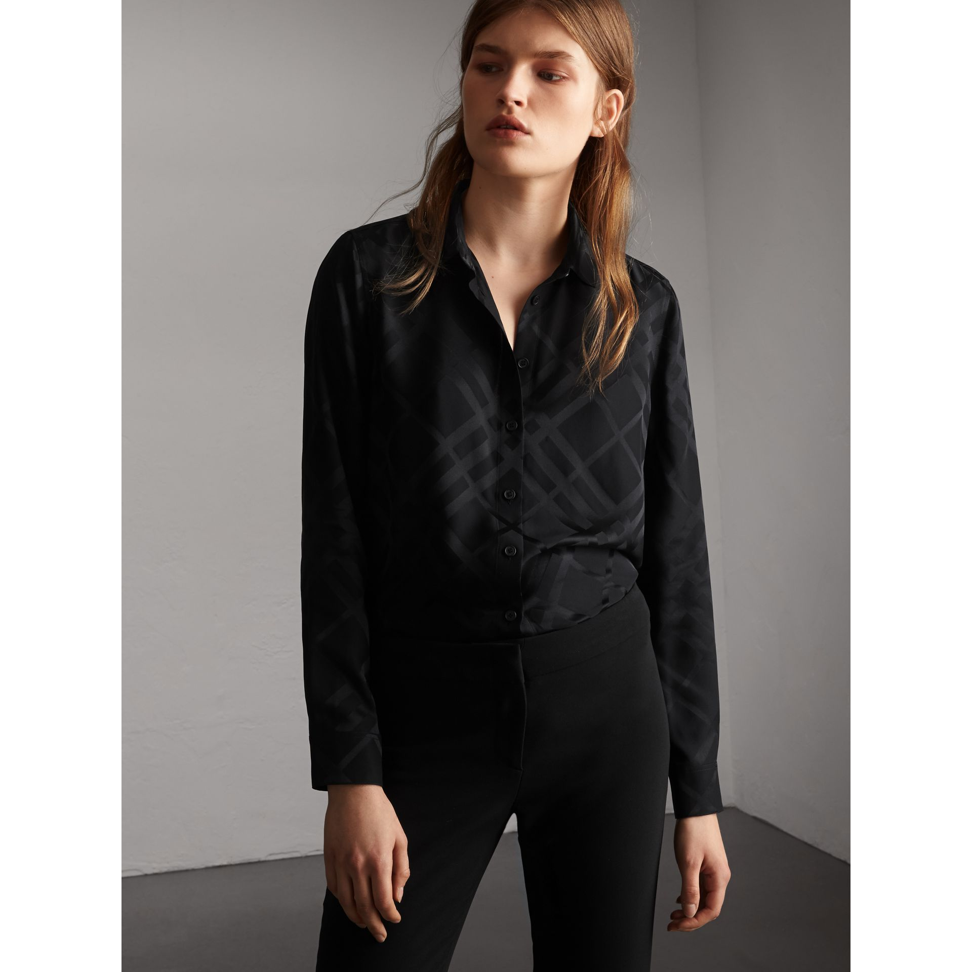 Tonal Check Silk Shirt in Black - Women | Burberry Canada - gallery image 1