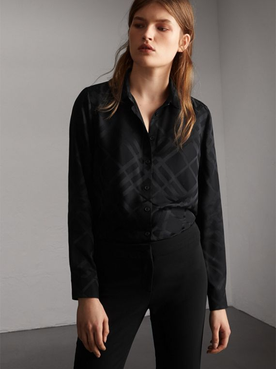Tonal Check Silk Shirt in Black