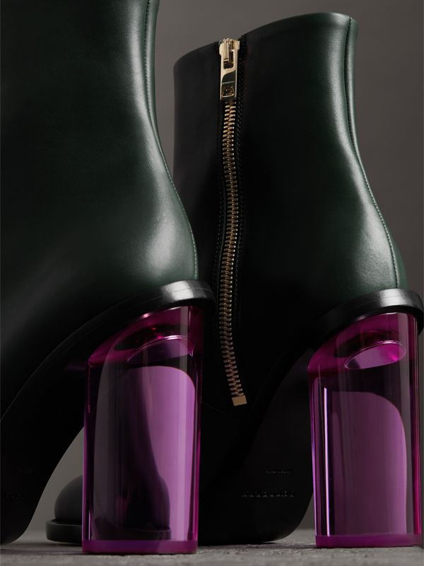 Two-tone Leather High Block-heel Boots in Dark Forest Green - Women | Burberry - cell image 3