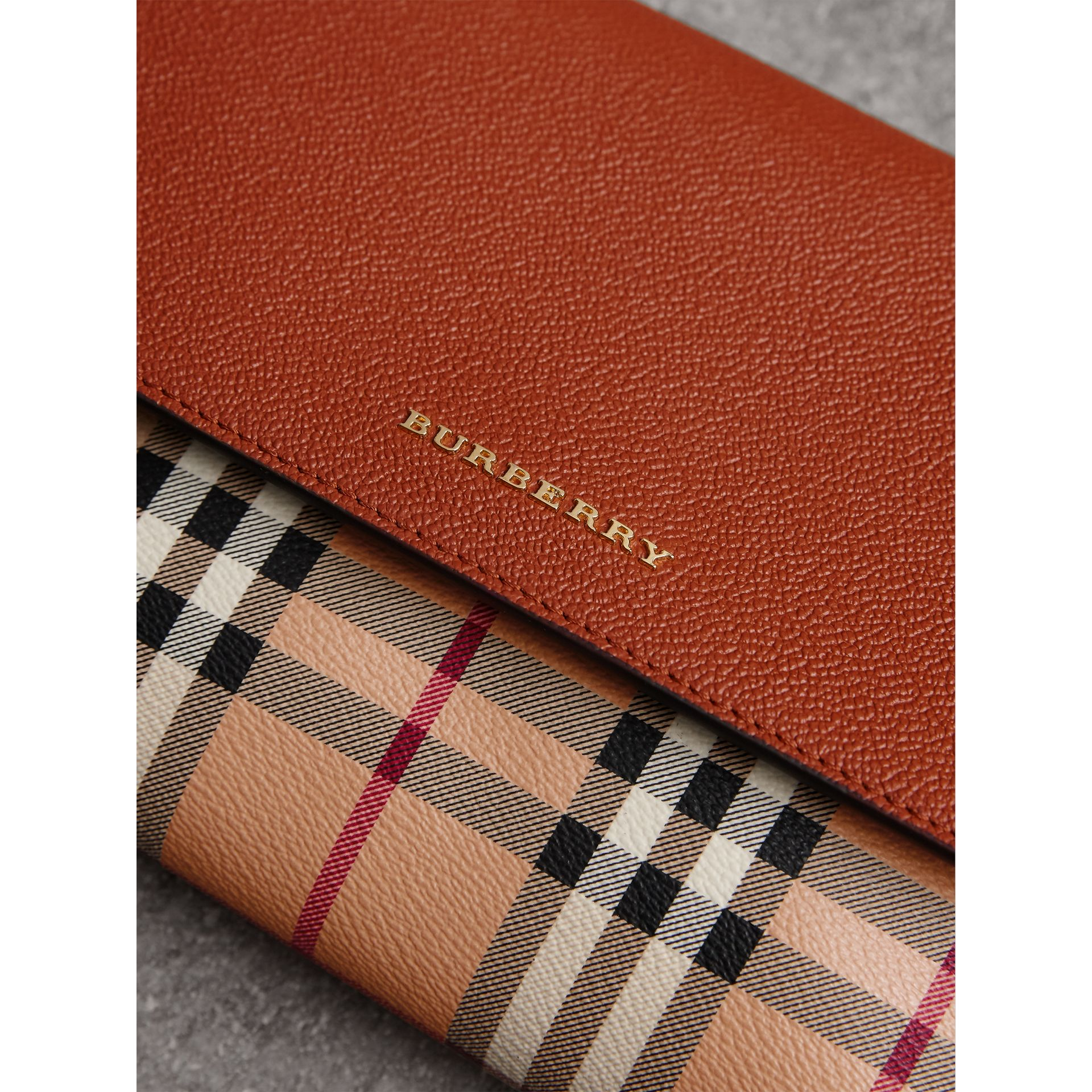Haymarket Check and Leather Crossbody Bag in Bright Toffee/multi - Women | Burberry Canada - gallery image 1