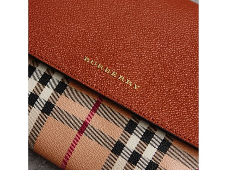 Haymarket Check and Leather Crossbody Bag in Bright Toffee/multi - Women | Burberry Hong Kong - cell image 1