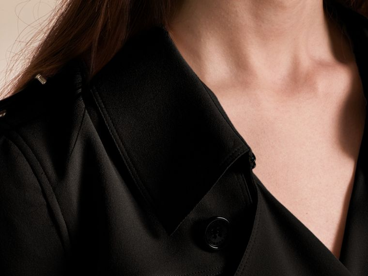 Silk Trench Dress in Black - Women | Burberry - cell image 4