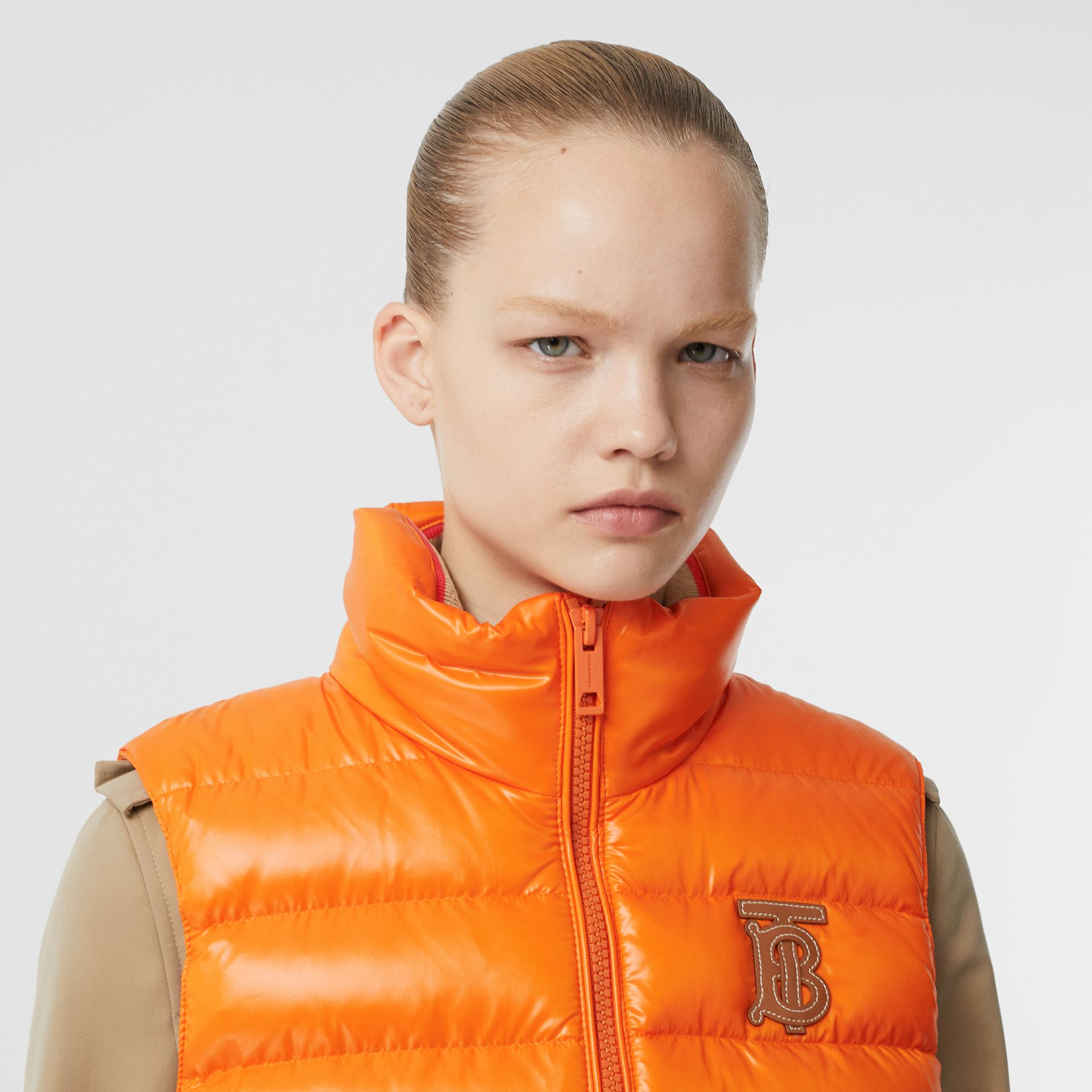 Icon Stripe Detail Down-filled Puffer Gilet in Orange - Women | Burberry - gallery image 1