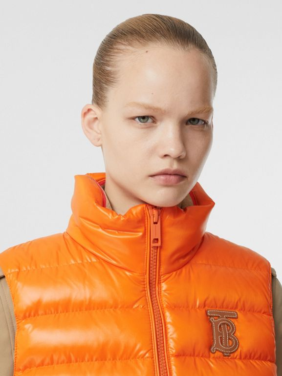 Icon Stripe Detail Down-filled Puffer Gilet in Orange - Women | Burberry Canada - cell image 1