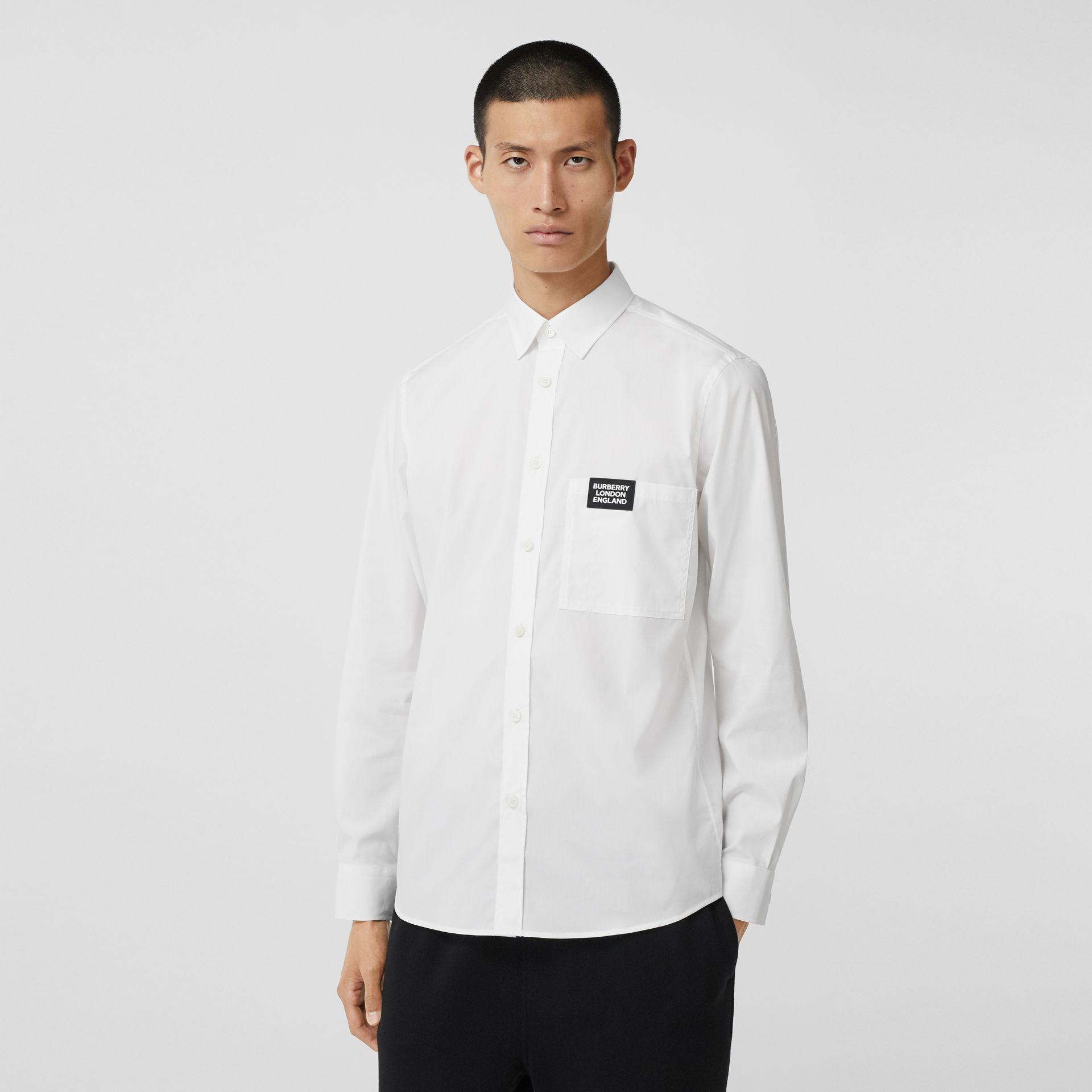Logo Detail Stretch Cotton Poplin Shirt in White - Men   Burberry - gallery image 0