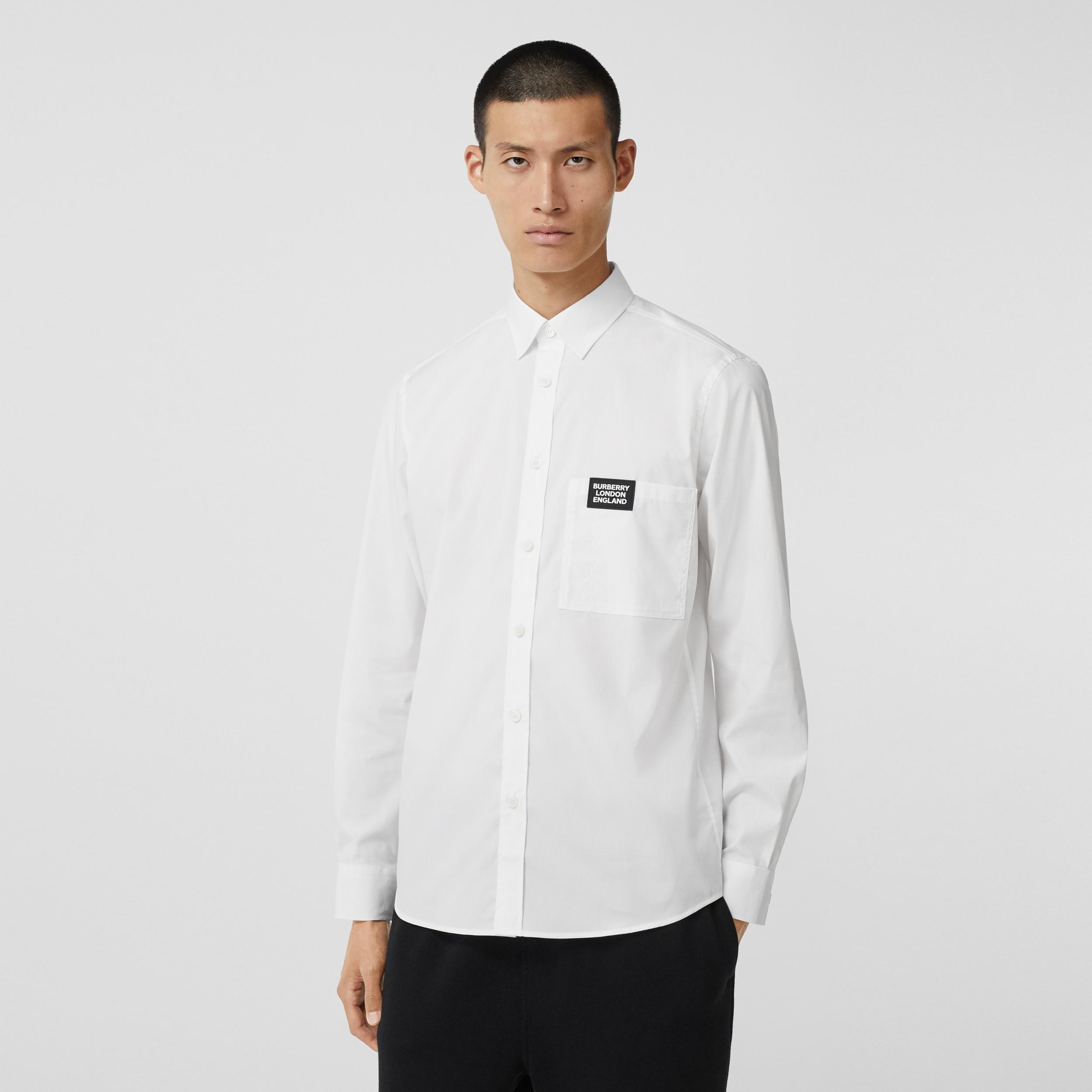 Logo Detail Stretch Cotton Poplin Shirt In White Men Burberry