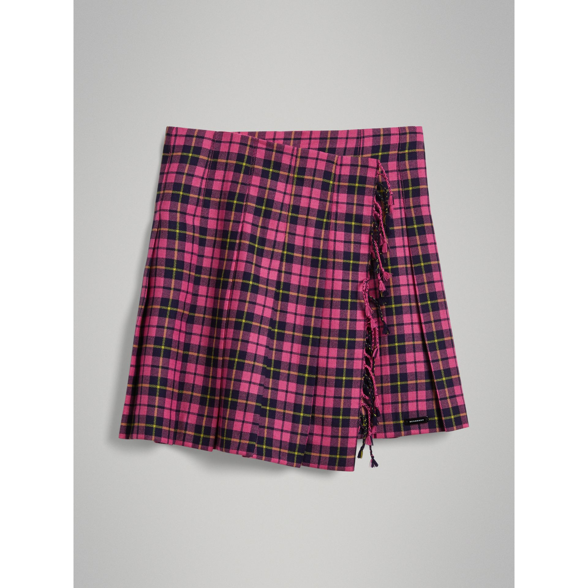 Fringe Detail Tartan Wool Kilt in Neon Pink - Girl | Burberry - gallery image 0