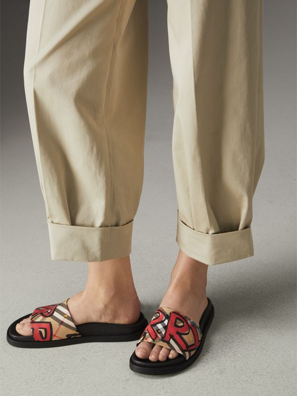Graffiti Print Vintage Check and Leather Slides in Antique Yellow - Women | Burberry Australia - cell image 2
