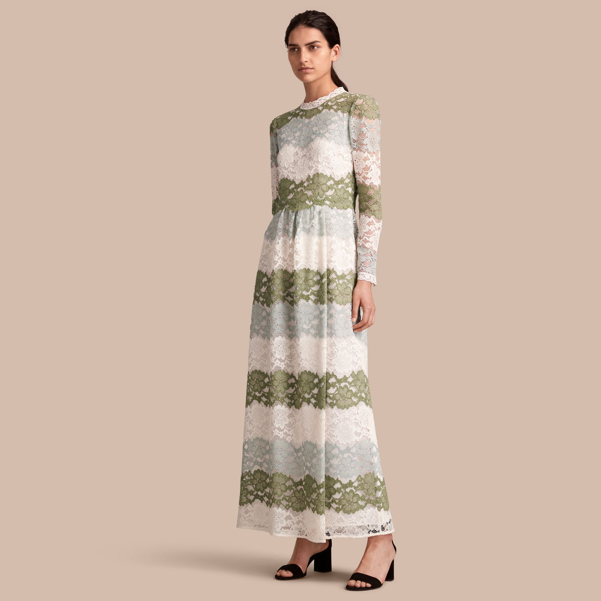 Floor-length Floral Lace Dress in Chalk Green - Women | Burberry - gallery image 1