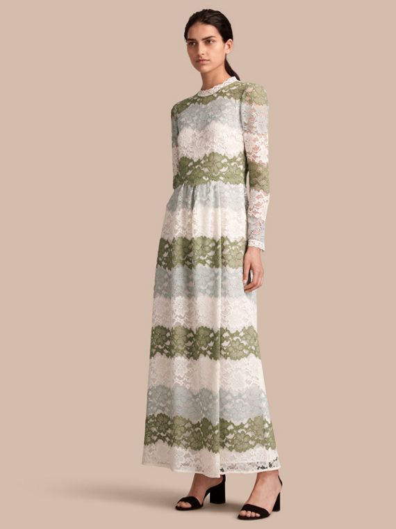 Floor-length Floral Lace Dress - Women | Burberry