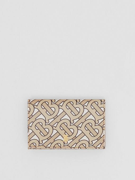 Small Monogram Print Leather Folding Wallet in Beige
