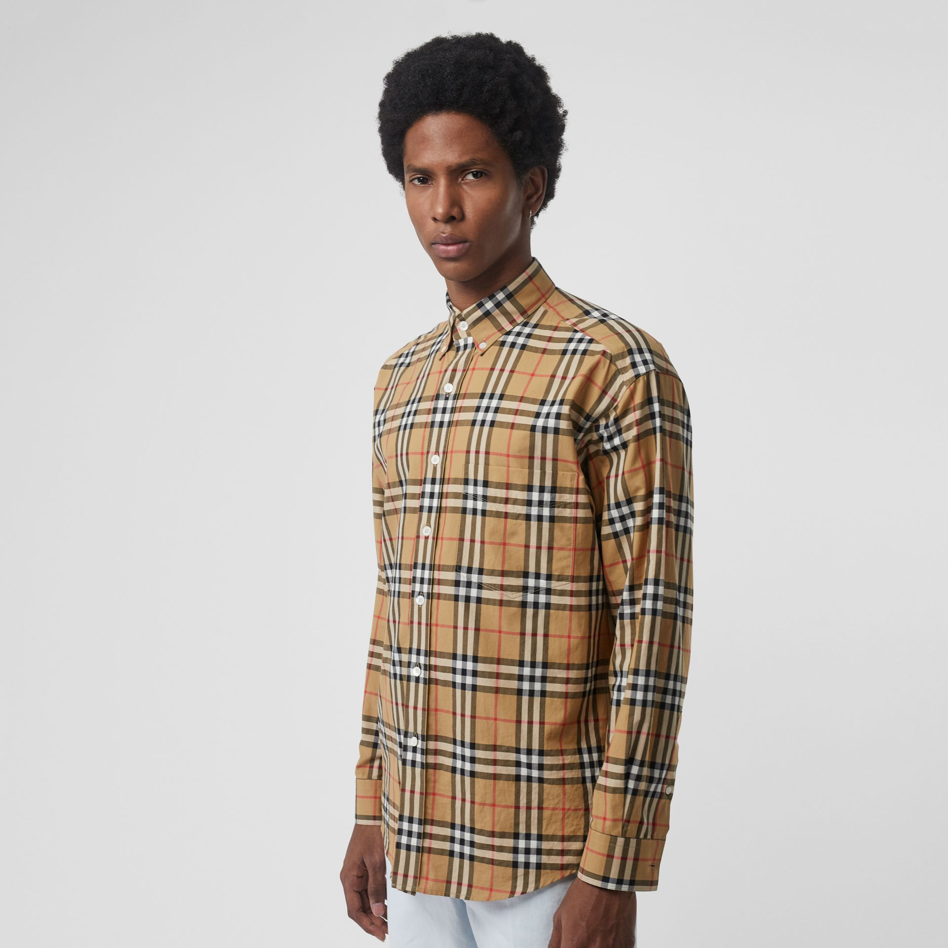 Button-down Collar Vintage Check Cotton Shirt in Antique Yellow - Men | Burberry Singapore - gallery image 0