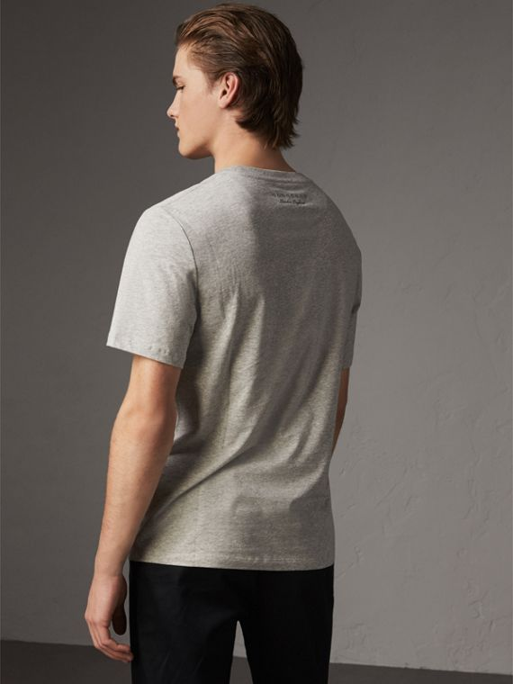 Sketch Appliqué Cotton T-shirt in Pale Grey Melange - Men | Burberry United Kingdom - cell image 2