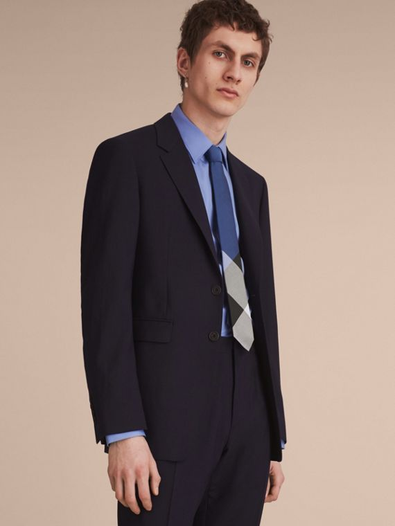 Slim Cut Check Silk Cotton Tie in Chalk Blue - Men | Burberry - cell image 2