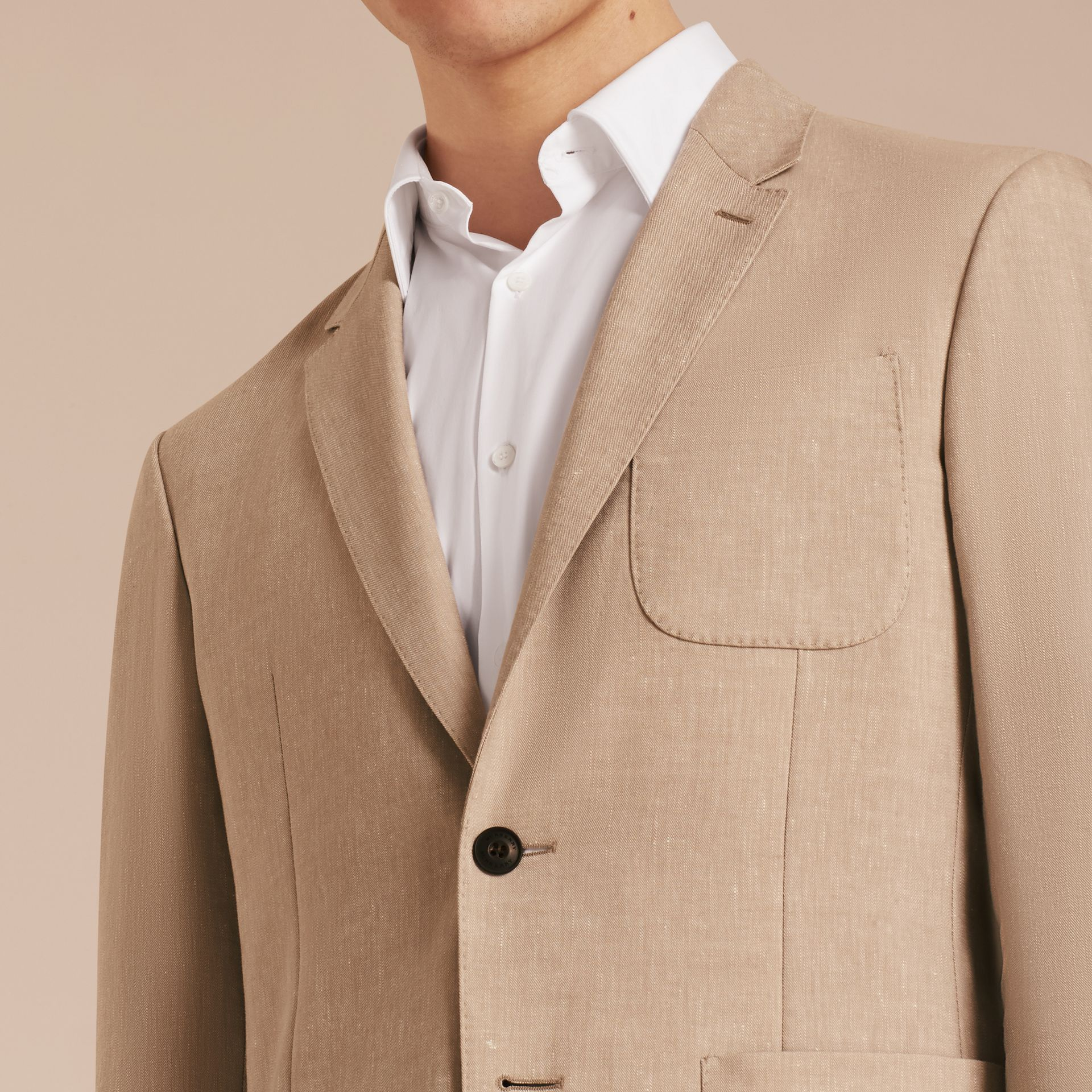 Modern Fit Travel Tailoring Linen Cashmere Wool Suit - Men | Burberry - gallery image 7