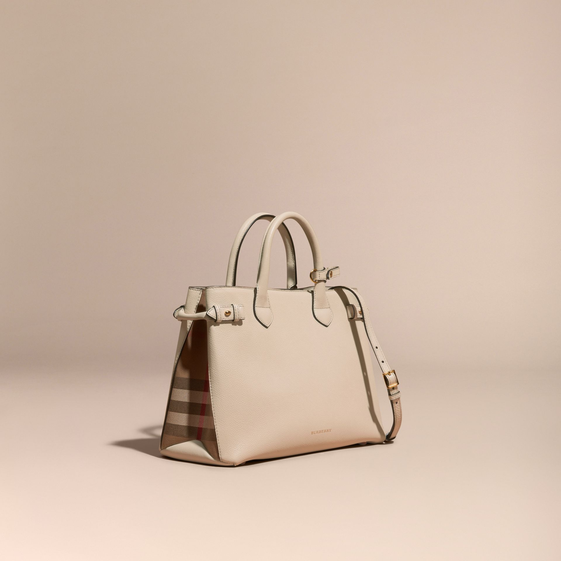 The Medium Banner in Leather and House Check in Limestone - Women | Burberry Canada - gallery image 1