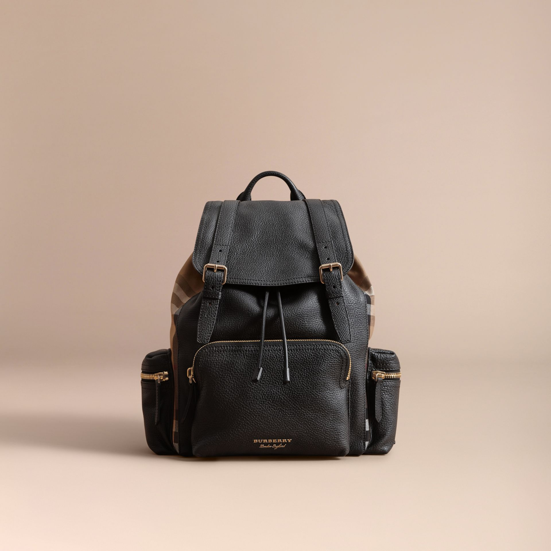 The Large Rucksack in Grainy Leather and House Check in Black | Burberry - gallery image 7