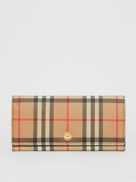 Vintage Check and Leather Continental Wallet in Malt Brown