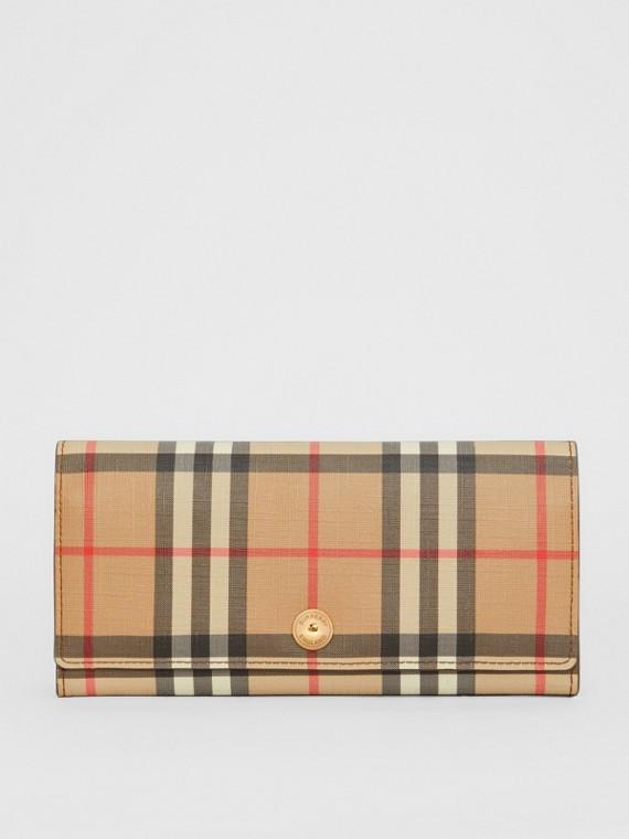 Portefeuille continental en cuir et Vintage check (Brun Malt)